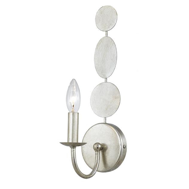 Circle Detail Antique 1 Light Silver Sconce