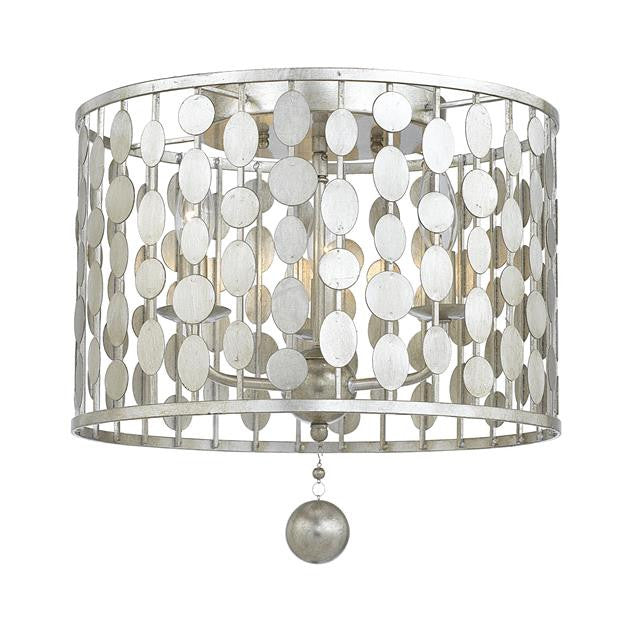 Circle Detail Antique 3 Light Silver Ceiling Mount, Lighting, Laura of Pembroke