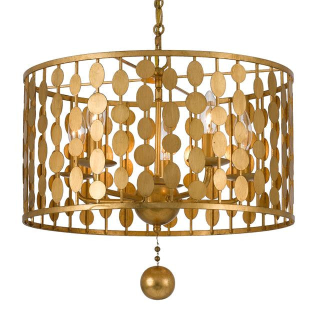 Circle Detail Antique 5 Light Gold Chandelier, Lighting, Laura of Pembroke