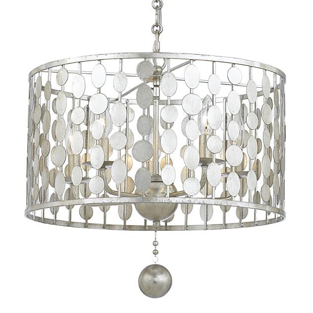 Circle Detail Antique 5 Light Silver Chandelier, Lighting, Laura of Pembroke