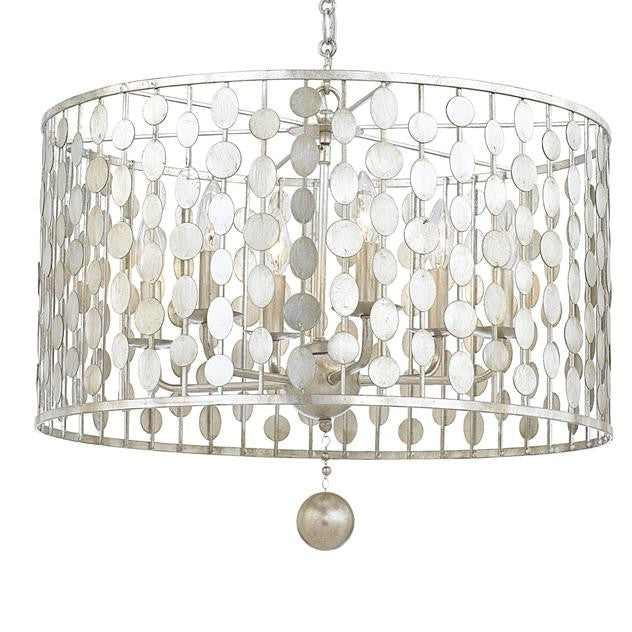 Circle Detail Antique 6 Light Silver Chandelier