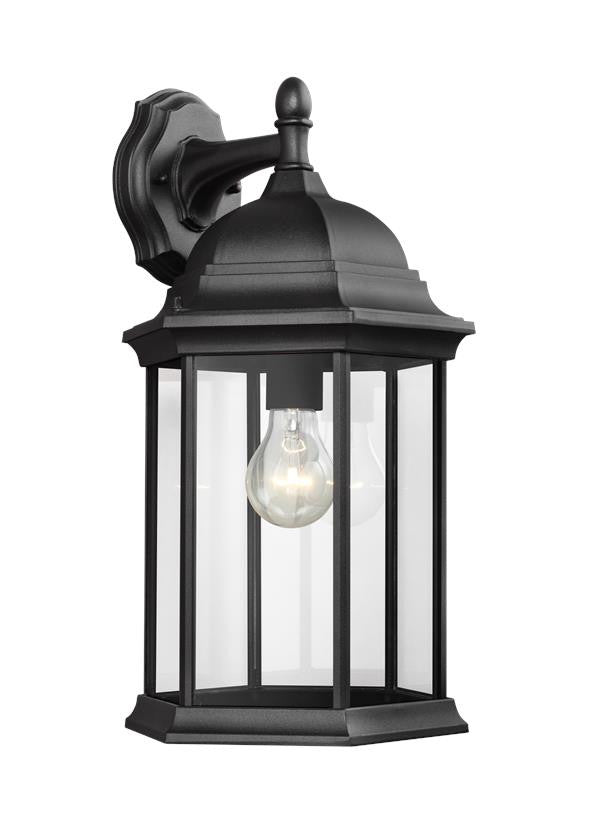 Black Classic Outdoor Large 1 Light Downlight Wall Lantern, Lighting, Laura of Pembroke