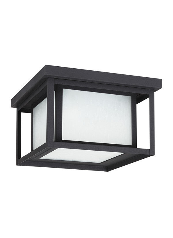 Transitional Minimalism Weathered Black 2 Light Outdoor Ceiling Flush Mount, Lighting, Laura of Pembroke