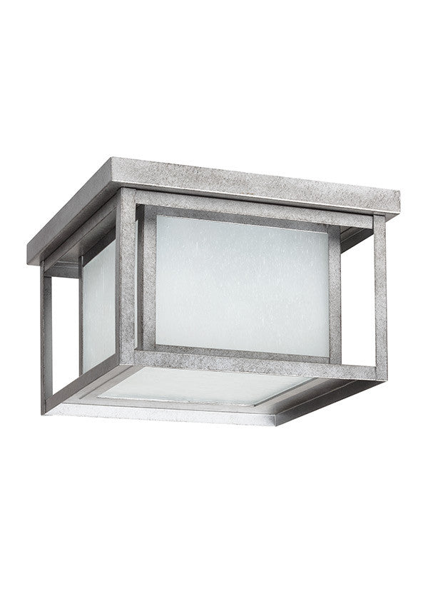 Transitional Minimalism Weathered Pewter 2 Light Outdoor Ceiling Flush Mount, Lighting, Laura of Pembroke