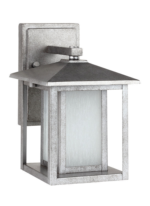 Transitional Minimalism Weathered Pewter 1 Light Outdoor Wall Lantern, Lighting, Laura of Pembroke