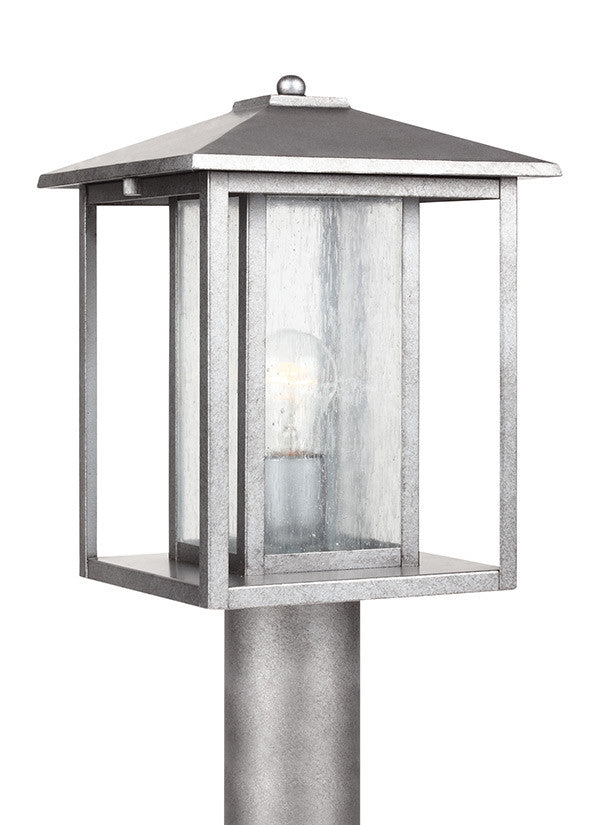 Transitional Minimalism Weathered Pewter 1 Light Outdoor Post Lantern, Lighting, Laura of Pembroke