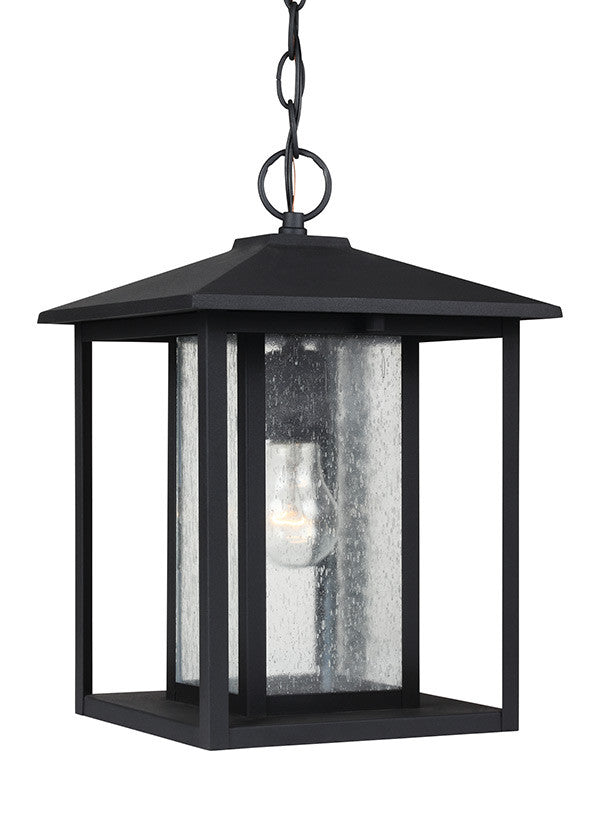 Transitional Minimalism Weathered Black 1 Light Outdoor Pendant, Lighting, Laura of Pembroke