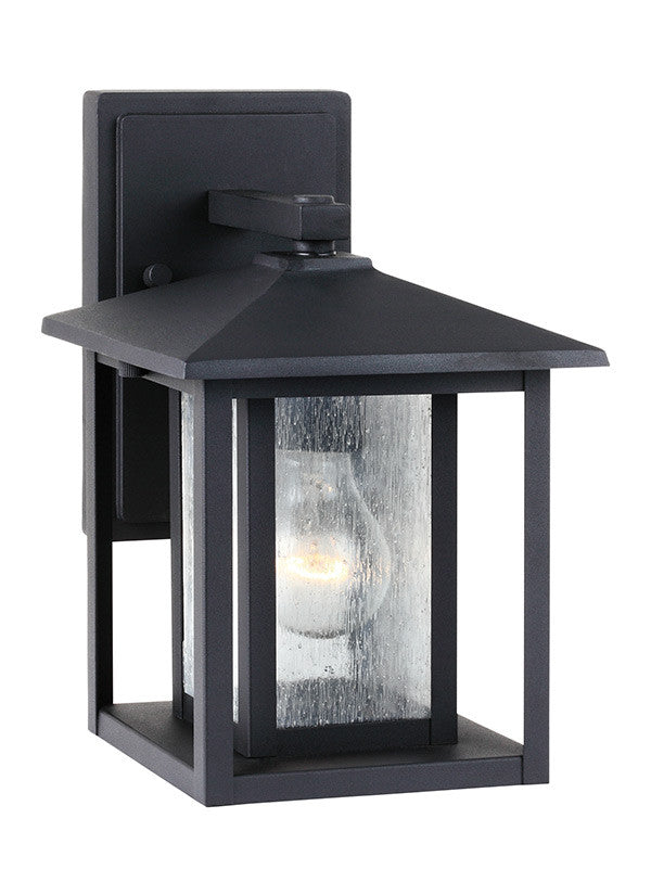 Transitional Minimalism Weathered Black 1 Light Outdoor Wall Lantern, Lighting, Laura of Pembroke