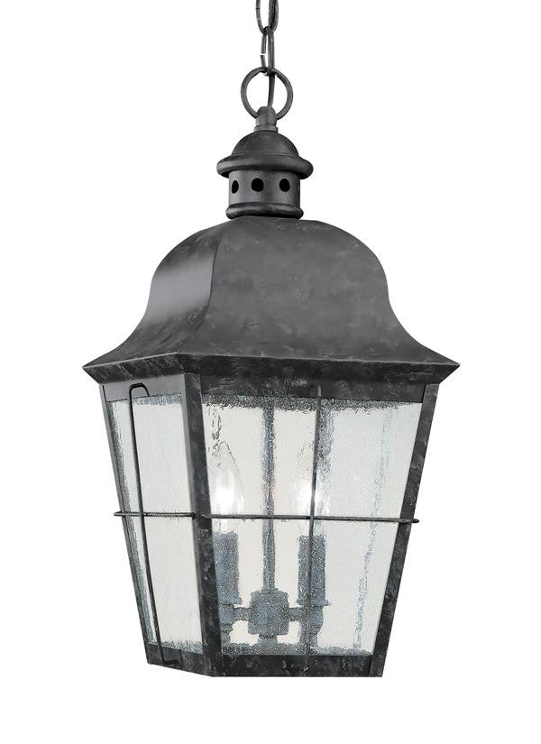 Classic Window Pane Oxidized Bronze 2 Light Outdoor Pendant