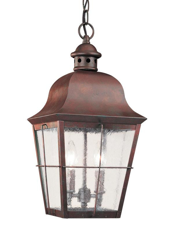 Classic Window Pane Weathered Copper 2 Light Outdoor Pendant
