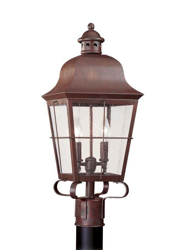 Classic Window Pane Weathered Copper 2 Light Outdoor Post Lantern