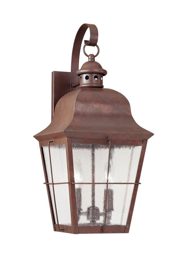 Classic Window Pane Weathered Copper 2 Light Outdoor Wall Lantern