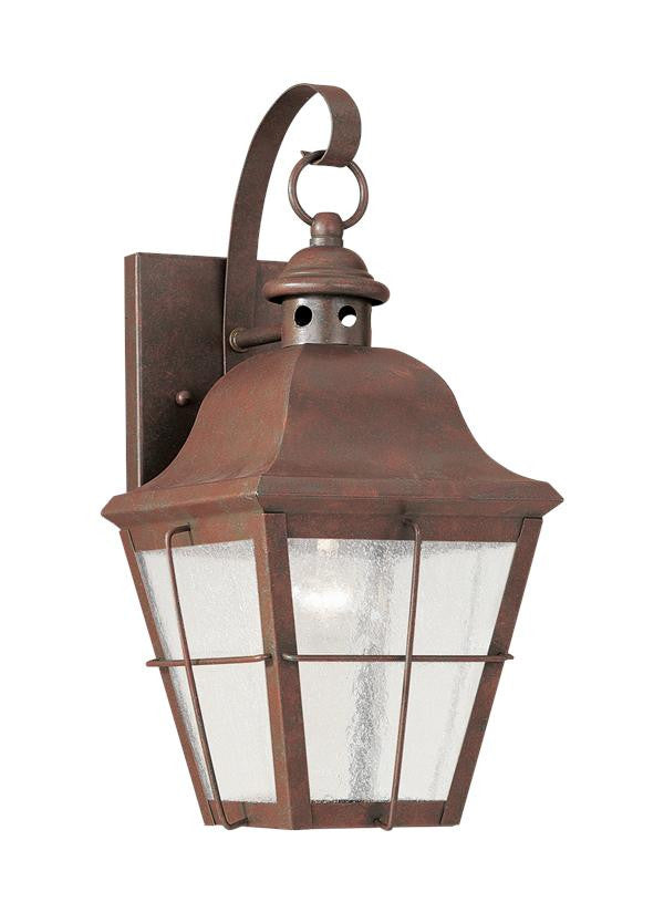 Classic Window Pane Weathered Copper 1 Light Outdoor Wall Lantern