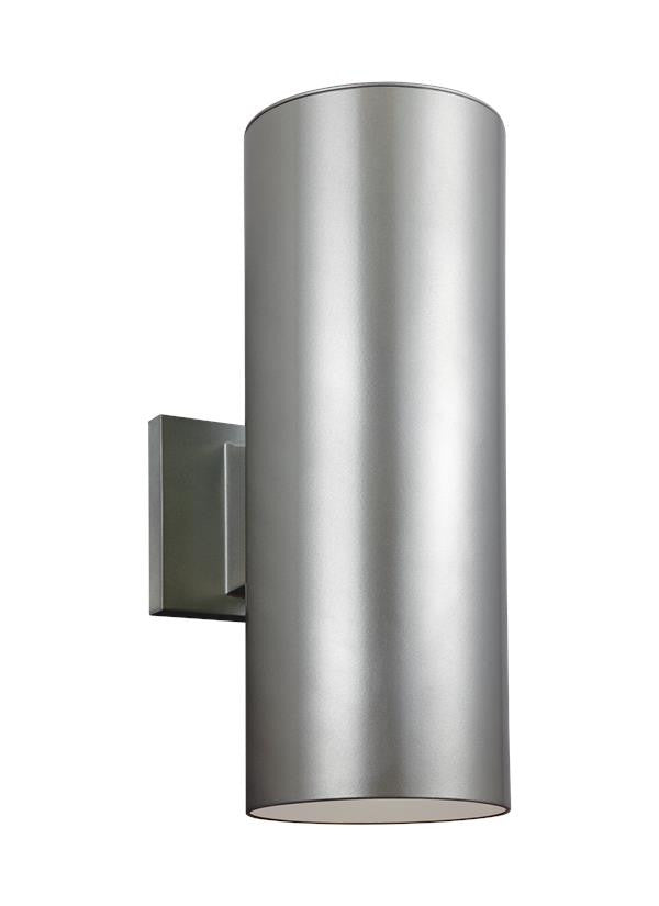 Outdoor Cylinders Painted Brush Nickel 2 Light Wall Lantern, Lighting, Laura of Pembroke