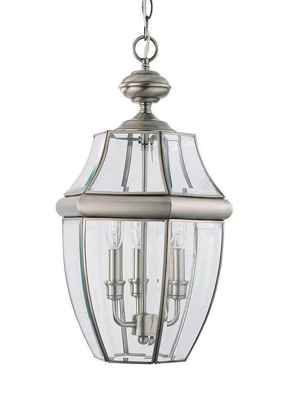 Curved Beveled Antique Brushed Nickel Outdoor 3 Light Pendant