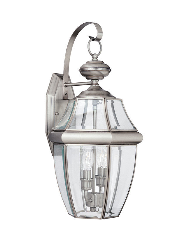 Curved Beveled Antique Brushed Nickel 2 Light Outdoor Wall Lantern