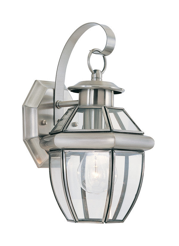 Curved Beveled Antique Brushed Nickel 1 Light Outdoor Wall Lantern, Lighting, Laura of Pembroke