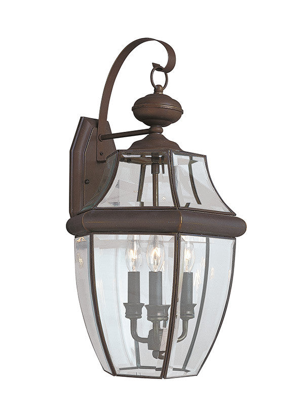 Curved Beveled Antique Bronze 3 lIght Outdoor Wall Lantern
