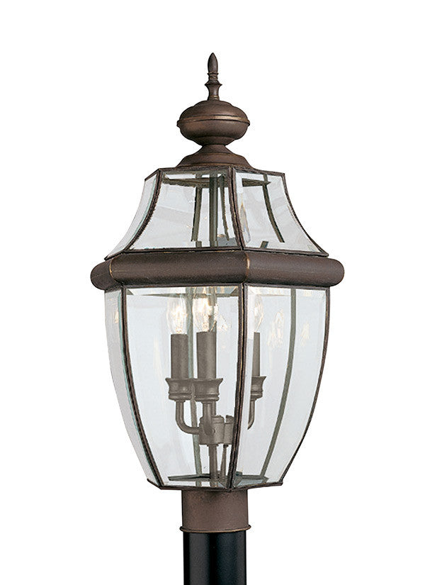 Curved Beveled Antique Bronze 3 Light Outdoor Post Lantern