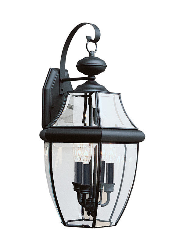 Curved Beveled Black 3 Light Outdoor Wall Lantern
