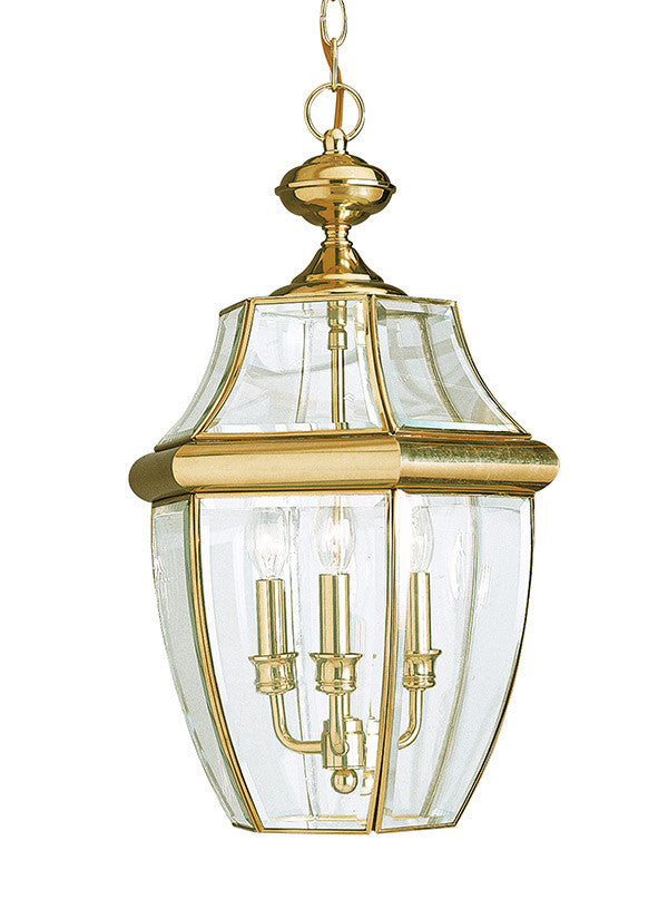Curved Beveled Polished Brass 3 Light Outdoor Pendant