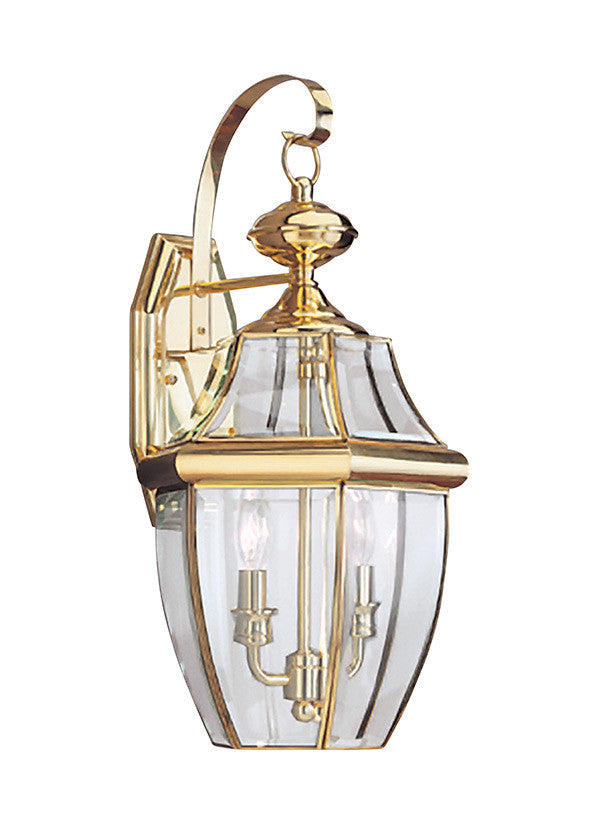 Curved Beveled Polished Brass 2 Light Outdoor Wall Lantern