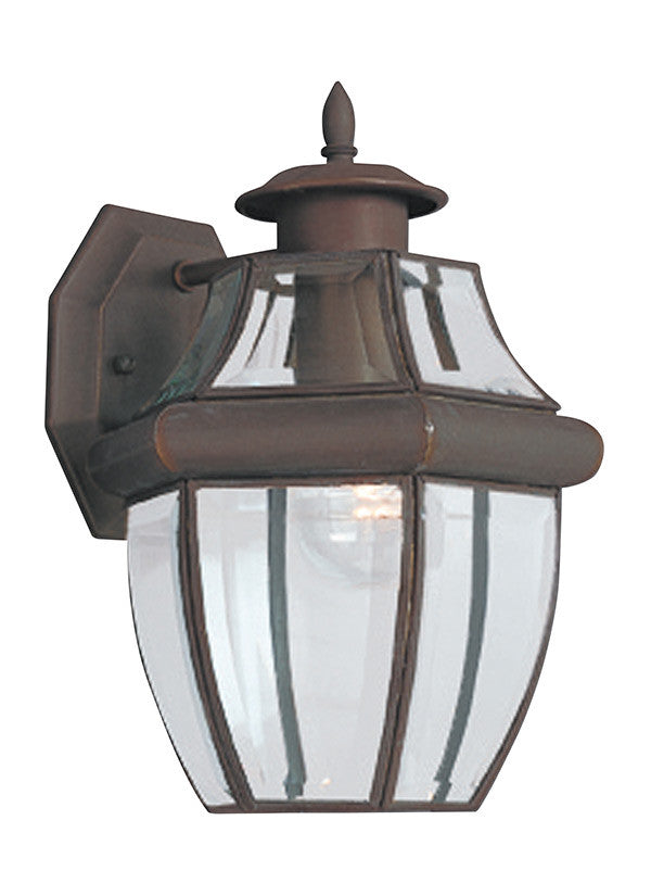 Curved Beveled Antique Bronze 1 Light Outdoor Wall Lantern