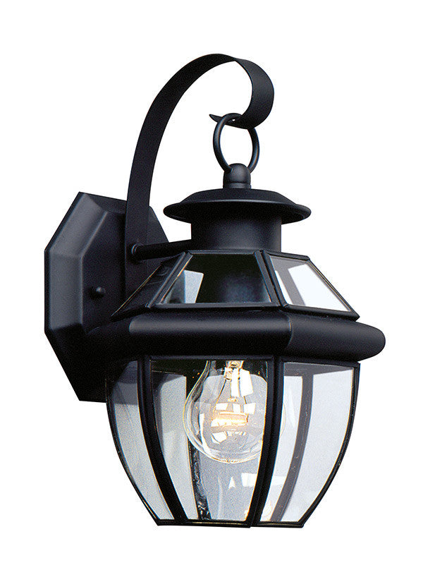 Curved Beveled Glass Black 1 Light Outdoor Wall Lantern