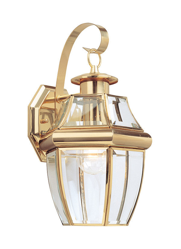 Curved Beveled Glass Polished Brass 1 Light Outdoor Wall Lantern