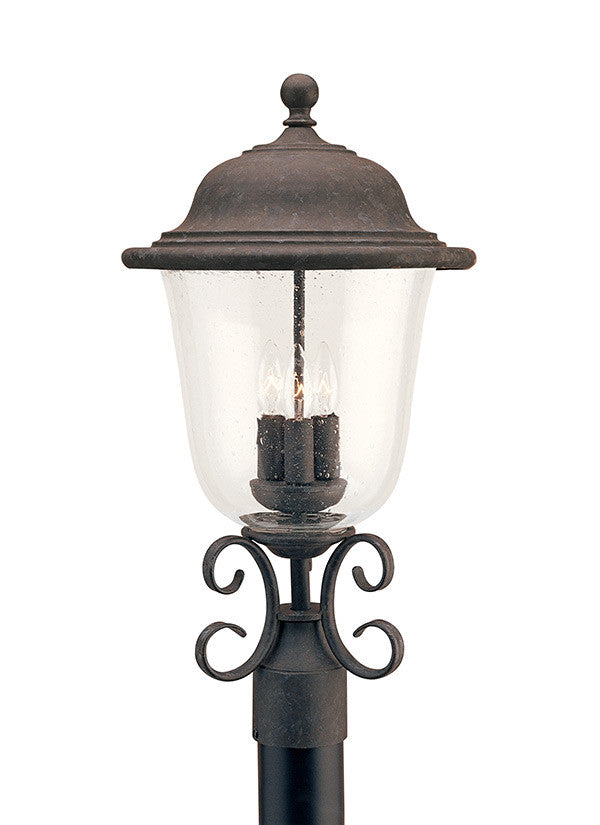 Oxidized Bronze Outdoor 3 Light Post Lantern, Lighting, Laura of Pembroke