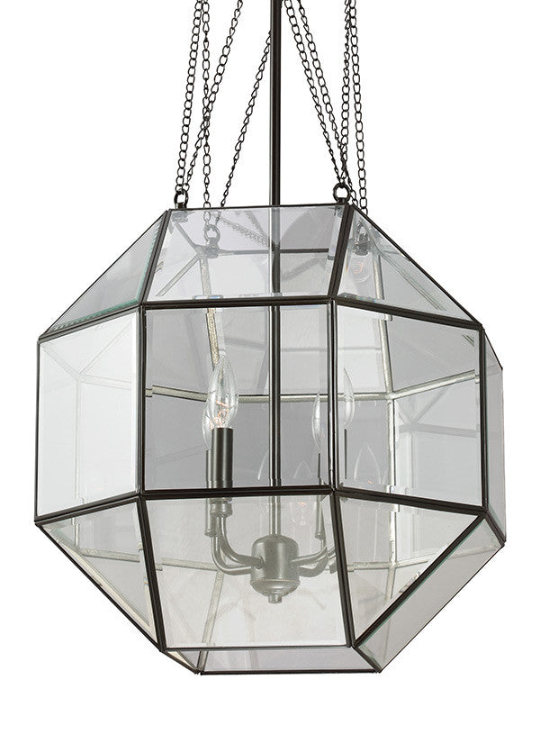 Clear Beveled Glass Octagonal Large 4 Light Pendant