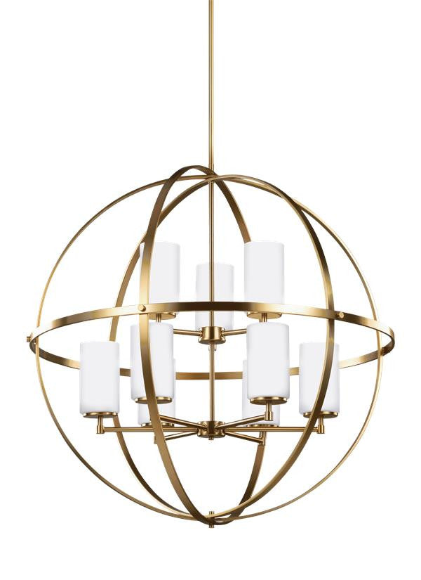 Spherical Satin Bronze 9 Light Chandelier, Lighting, Laura of Pembroke