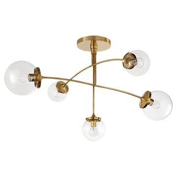 Kate Spade Round Globe Medium Mobile Chandelier in Soft Brass with Clear Glass