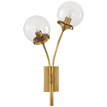 Kate Spade Round Globe Left Sconce in Soft Brass with Clear Glass