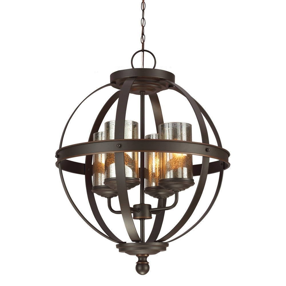 Bronze Sphere with Mercury Glass 4 Light Chandelier