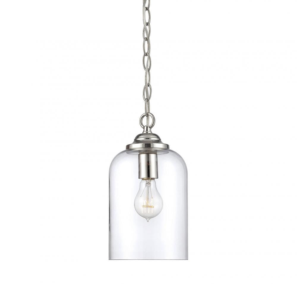 Polished Nickel Clear 1 Light Pendant, Lighting, Laura of Pembroke