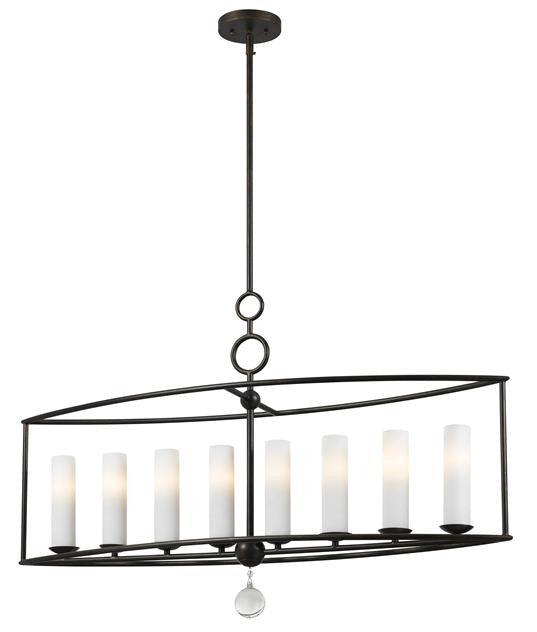 Circle Detail Bronze 8 Light Linear Chandelier, Lighting, Laura of Pembroke
