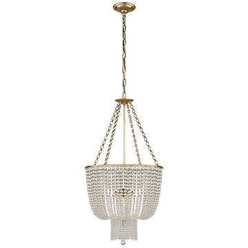 Chandelier in Hand-Rubbed Antique Brass with Clear Glass