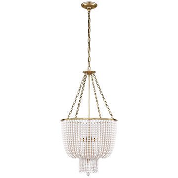 Chandelier in Hand-Rubbed Antique Brass with White Acrylic
