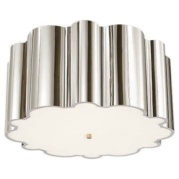 Flush Mount in Polished Nickel with Frosted Acrylic