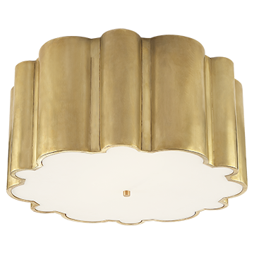 Flush Mount in Natural Brass with Frosted Acrylic