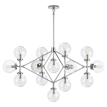 Bistro Four Arm Chandelier in Polished Nickel with Clear Glass