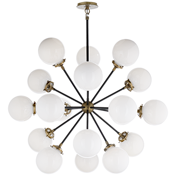 Bistro Medium Round Chandelier in Hand-Rubbed Antique Brass and Black with White Glass, Lighting, Laura of Pembroke