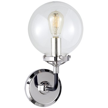 Bistro Single Light Sconce in Polished Nickel and Black with Clear Glass, Lighting, Laura of Pembroke