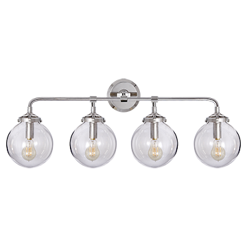 Bistro Four Light Bath Sconce in Polished Nickel with Clear Glass, Lighting, Laura of Pembroke