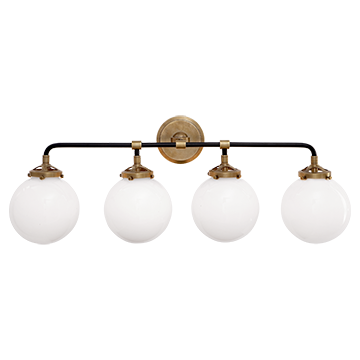 Bistro Four Light Bath Sconce in Hand-Rubbed Antique Brass and Black with White Glass, Lighting, Laura of Pembroke