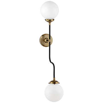 Bistro Double Wall Sconce in Hand-Rubbed Antique Brass with White Glass, Lighting, Laura of Pembroke