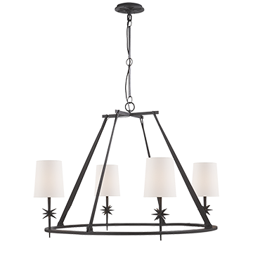 Etoile Round Chandelier in Black Rust with Natural Paper Shades