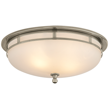 Large Flush Mount in Antique Nickel with Frosted Glass