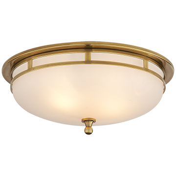Large Flush Mount in Hand-Rubbed Antique Brass with Frosted Glass